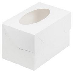 Коробка на 2 капкейка с окном Белая