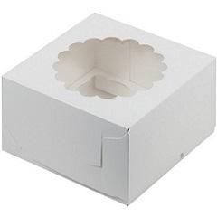 Коробка на 4 капкейка с окном Белая
