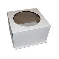 Коробка для торта 24х24х30 см с окном Гофрокартон