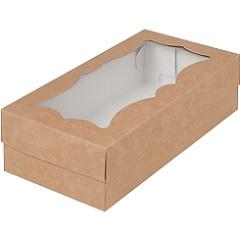 Коробка для кондитерских изделий и макарунс Крафт 21х11х5.5 см